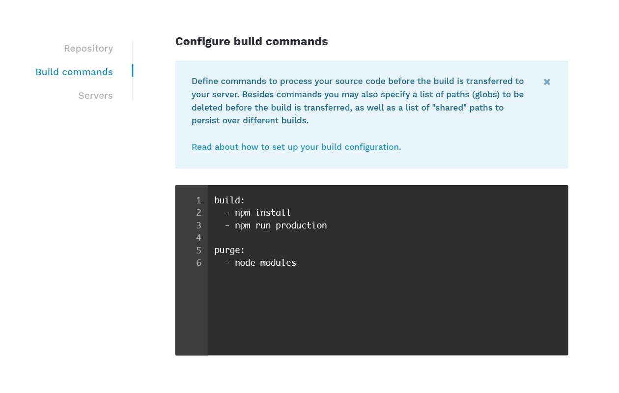 Configure build commands