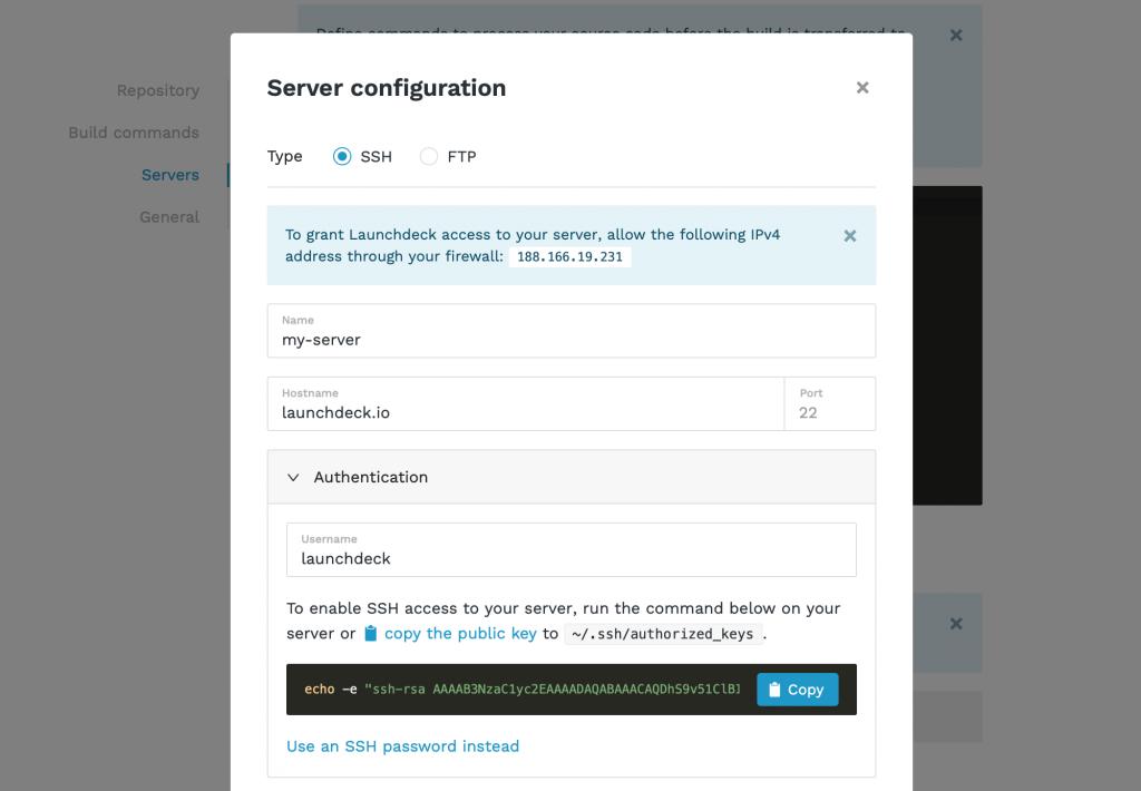 Configuring an SSH server for deployment