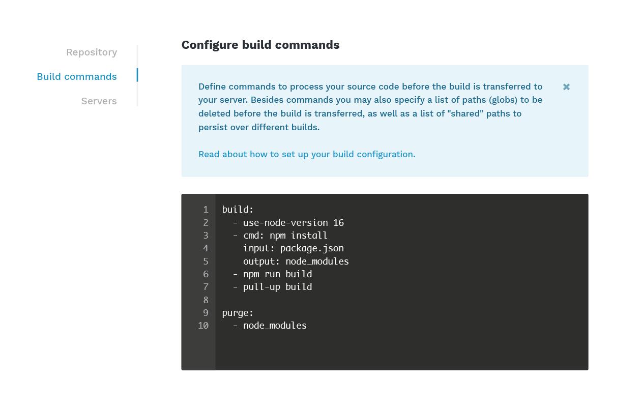 Build commands React app automation